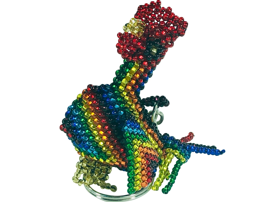 Keychain Charm - Rooster - Rainbow