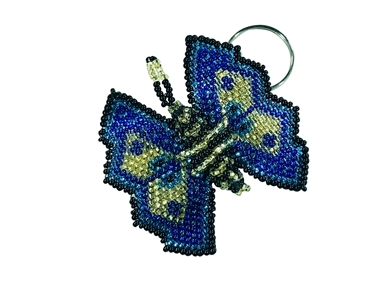 Keychain Charm - Butterfly Blue, Gold