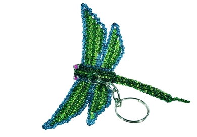 Keychain Charm - Dragonfly - Lime/Turquoise