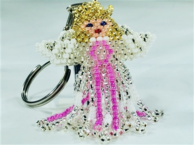 Keychain Charm - Angel - Pink Ribbon, Blonde (Breast Cancer)