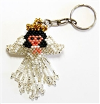 Keychain Charm - Angel - White, Black Hair