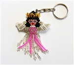 Keychain Charm - Angel - Pink Ribbon, Black Hair (Breast Cancer)