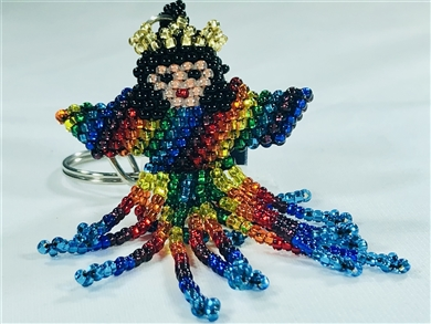 Keychain Charm - Angel - Rainbow, Black Hair