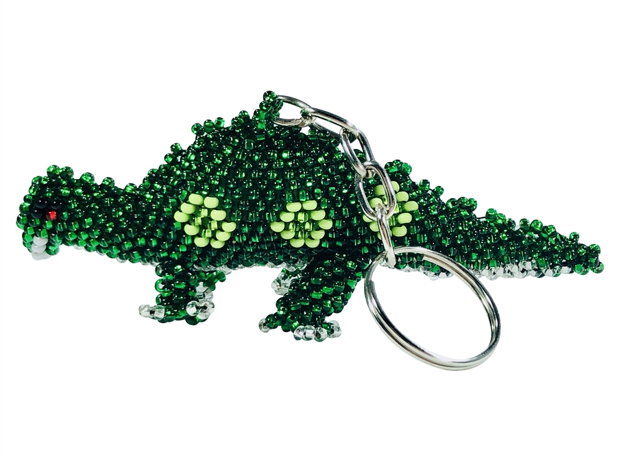 Keychain Charm - Green Dinosaur with spots