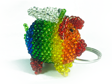 Keychain Charm - Pig - Flying - Rainbow