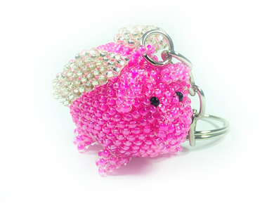 Keychain Charm - Pig - Flying Pink