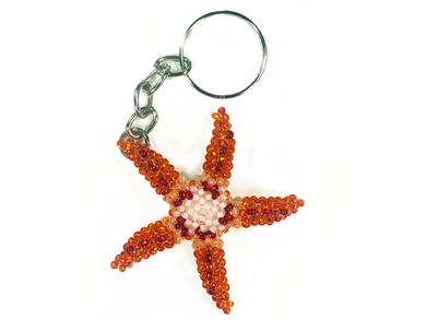 Keychain Charm - Starfish - Orange