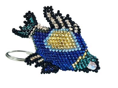 Keychain Charm - Angel Fish - blue/black/gold/emerald