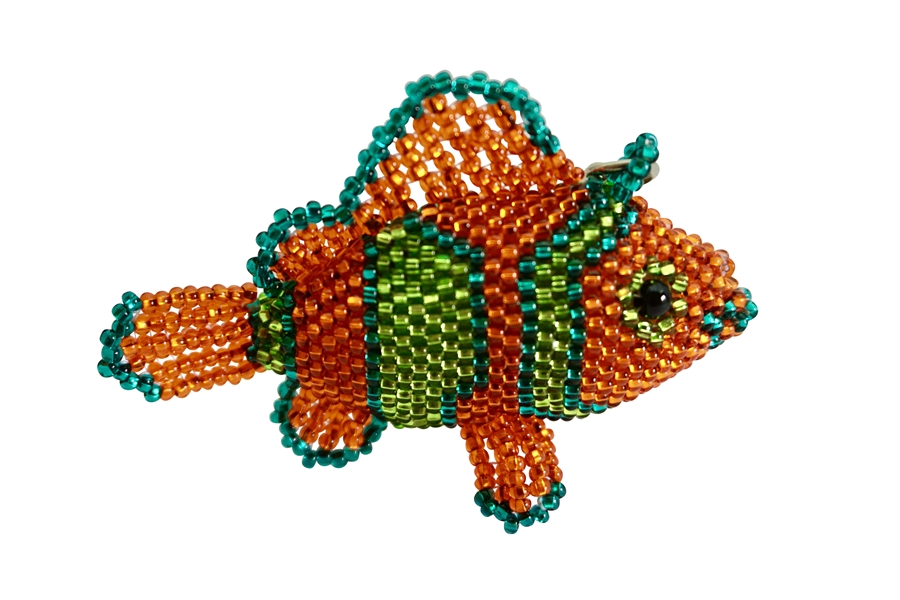 Keychain Charm - Clown Fish orange/emerald/lime