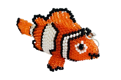 Keychain Charm - Clown Fish Orange/White