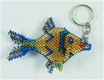 Keychain Charm - Fish - Gold Blue