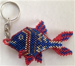 Keychain Charm - Fish - Red/Blue