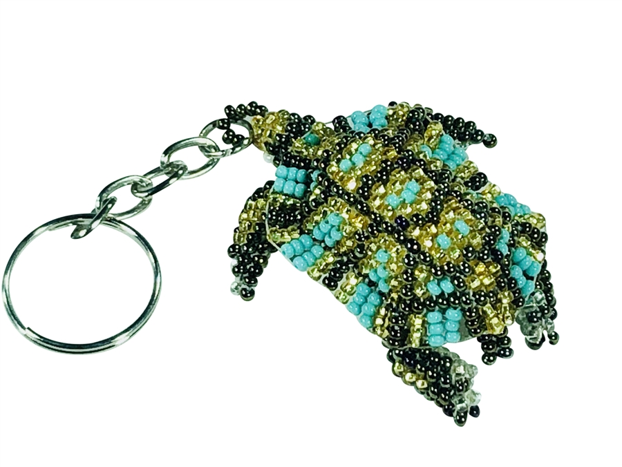 Keychain Charm - Turtle, Turquoise, Gold