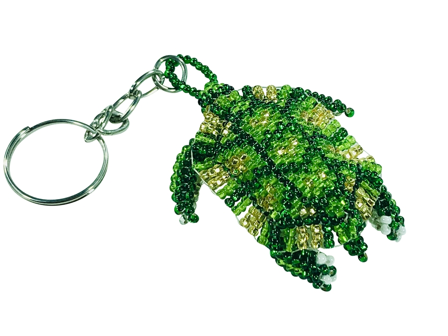 Keychain Charm - Turtle, Greens Gold