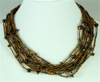 Necklace - 12 Strands Crystals and stones in Burnt Gold