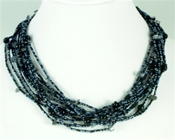 12 Strand Necklace Black