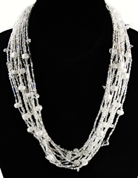 Necklace - 12-Strands Crystals and stones in White Silver