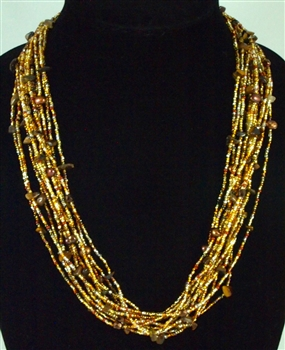 Necklace - 12 strands crystals and stones in Gold Copper