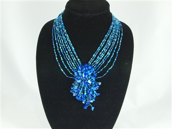 Boutique: Cluster Necklace - Blue