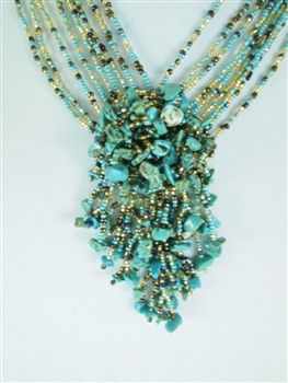 Boutique: Cluster Necklace - Turquoise/Gold/Coffee