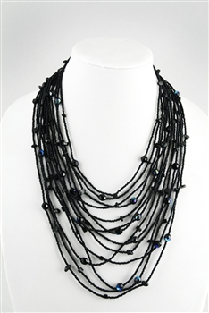 Necklace - Cascade - Black Crystals