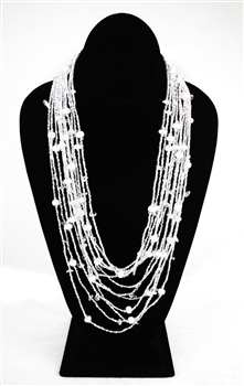 Necklace - Cascade - White Silver