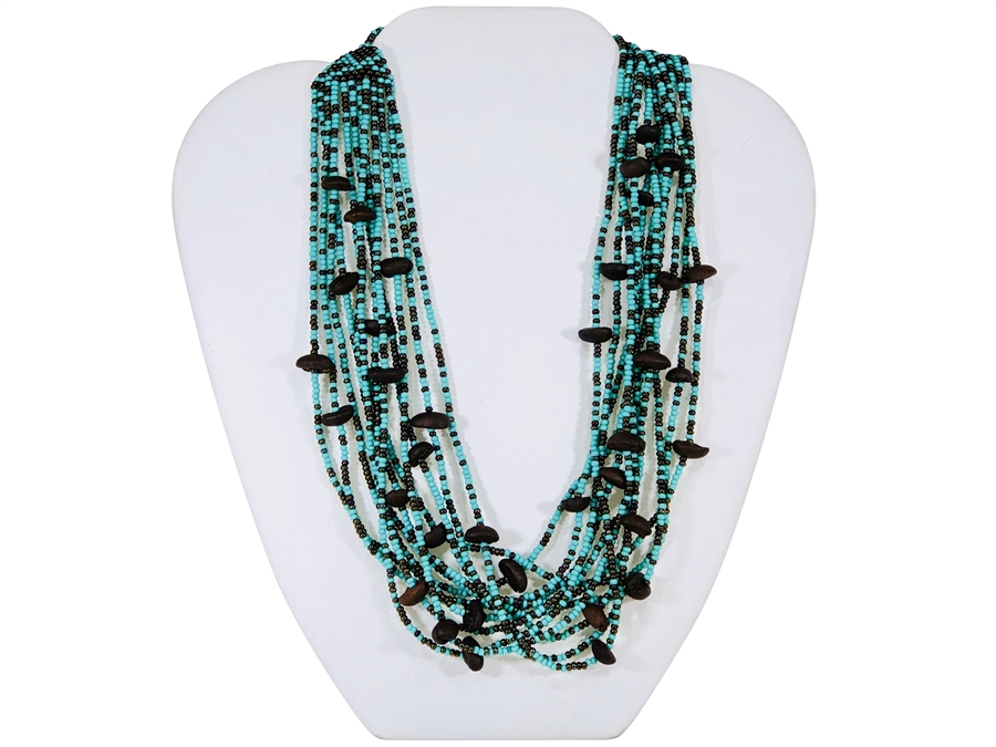 Necklace - 12-Strand Roasted Coffee Beans Turquoise