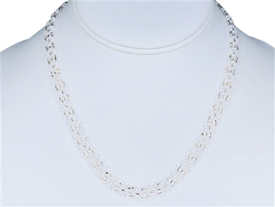 Necklace - Flower Chain White/Silver