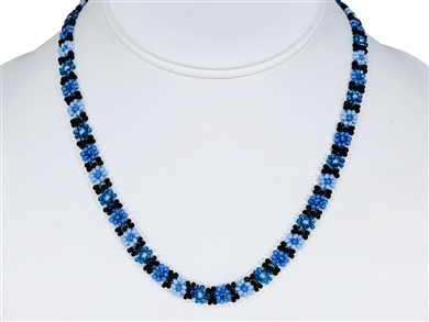 Necklace - Flower Chain Periwinkle Blue/Aqua/Black