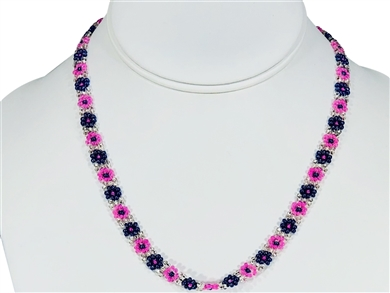 Necklace - Flower Chain Pink/Lilac/Silver