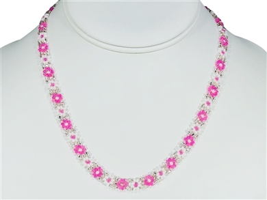 Necklace - Flower Chain Pink/White
