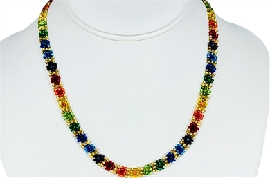Necklace - Flower Chain Rainbow/Gold