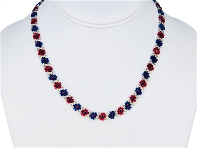Necklace - Flower Chain Red/Silver/Blue