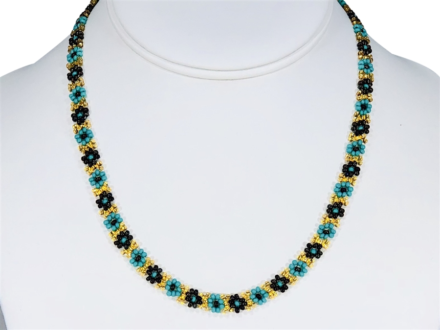 Necklace - Flower Chain Turquoise/Gold/Olive