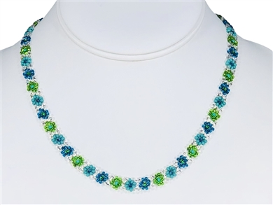 Necklace - Flower Chain Lime/Turquoise/Silver