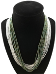 Necklace Mia - Silver/Green Peacock
