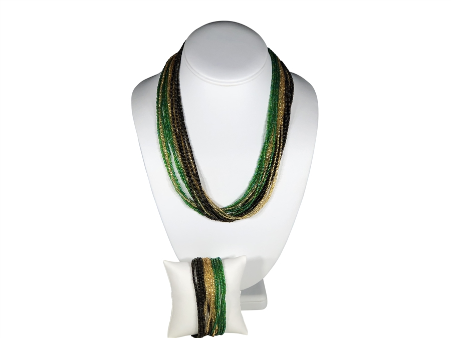 Necklace Mia - Green/Gold/Brown