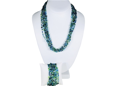 Necklace - Mia Lime/Silver/Pavoreal Azul/Aqua mix