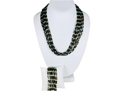 Necklace Mia - Coffee/Turquoise