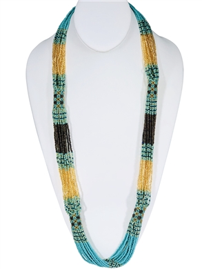 Necklace - Rope Seafoam/Gold/Coffee