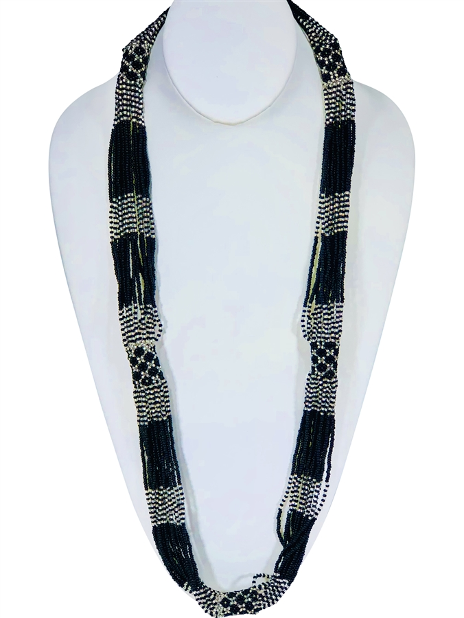 Necklace - Rope Black/Silver