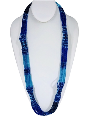 Necklace Rope-Aqua Light Blue Peacock Blue