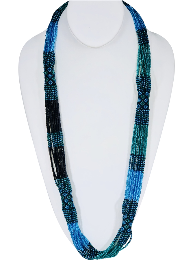 Lucia Necklace - Emerald Aqua Black