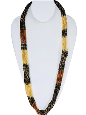 Lucia Necklace - Amber/Black/Gold/Coffee