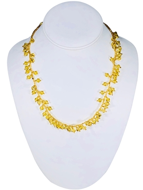 Necklace - Raindrop Crystals Gold