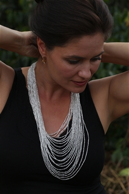Necklace - Tanya Cascade 24 Strand Silver