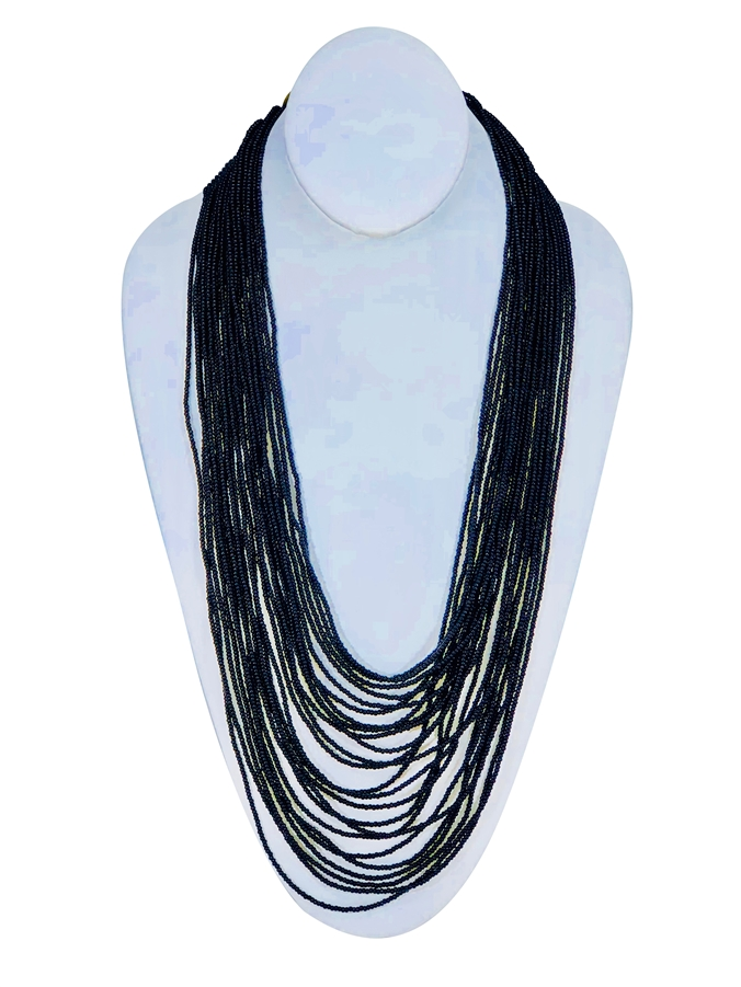 Necklace - Tanya Cascade 24 Strand Black