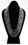 Necklace - Tanya Cascade 24 Strand Silver/Black