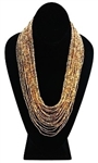 Necklace - Tanya Cascade 24 Strand Gold/Bronze