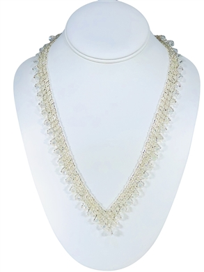 Necklace - Thin Lace Crystals - Silver